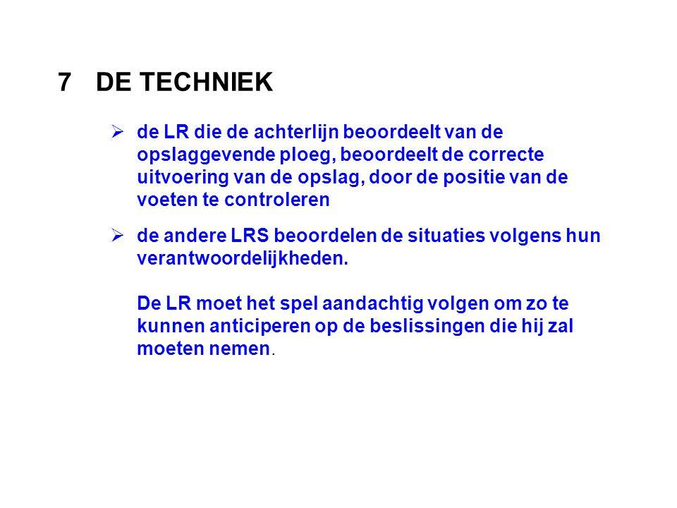 7DE TECHNIEK  de LR die de achterlijn beoordeelt van de opslaggevende ploeg, beoordeelt de correcte uitvoering van de opslag, door de positie van de