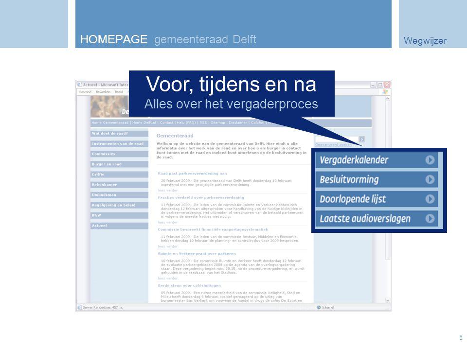 Wegwijzer 5 HOMEPAGE gemeenteraad Delft Voor, tijdens en na Alles over het vergaderproces