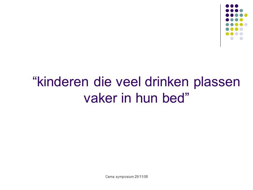"""Cema symposium 29/11/08 """"kinderen die veel drinken plassen vaker in hun bed"""""""