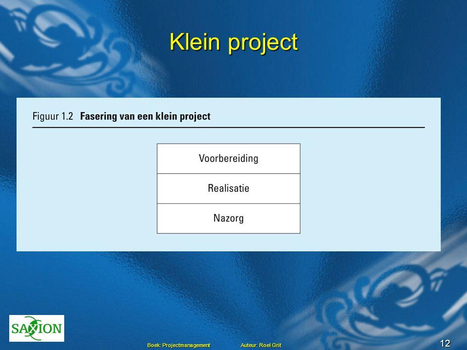 12 Boek: Projectmanagement Auteur: Roel Grit Klein project