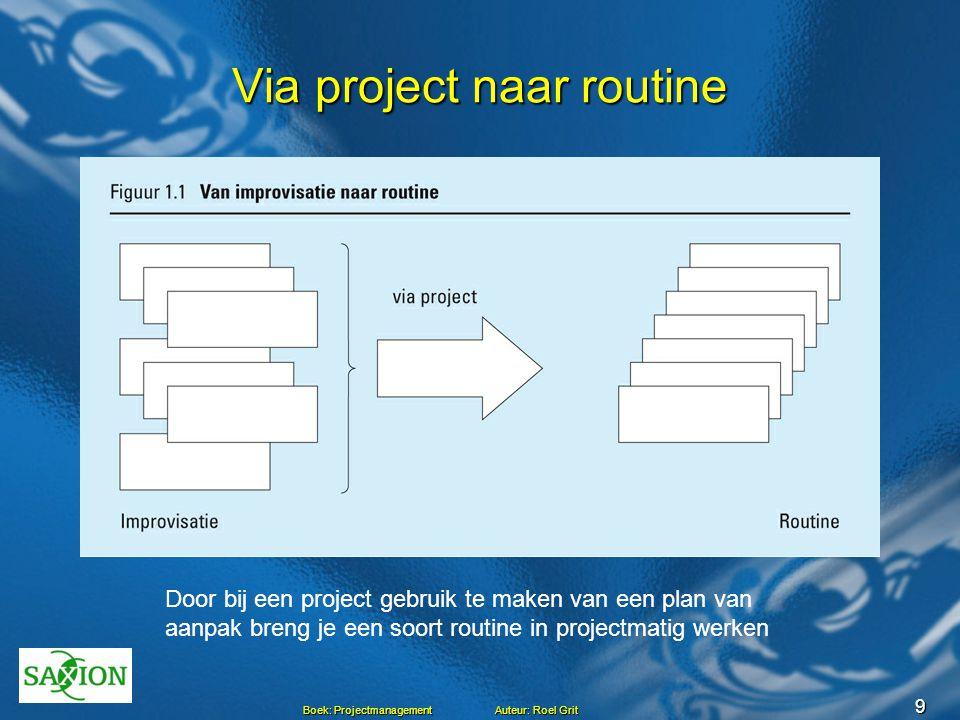9 Boek: Projectmanagement Auteur: Roel Grit Via project naar routine Door bij een project gebruik te maken van een plan van aanpak breng je een soort