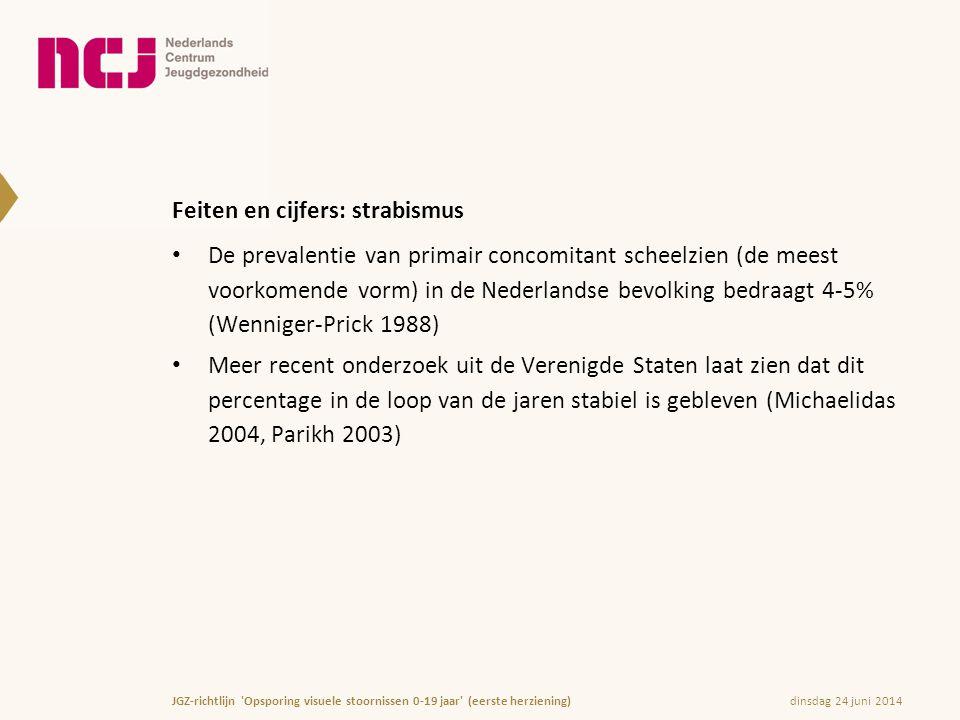 Feiten en cijfers: strabismus • De prevalentie van primair concomitant scheelzien (de meest voorkomende vorm) in de Nederlandse bevolking bedraagt 4-5