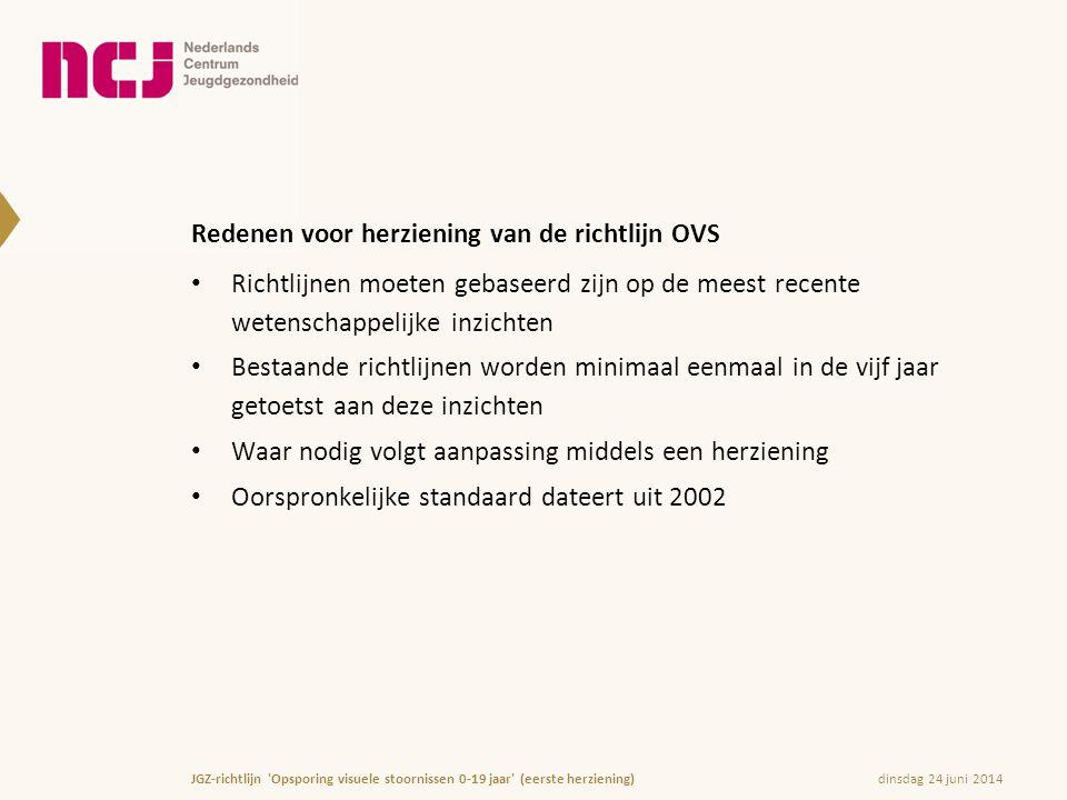 dinsdag 24 juni 2014JGZ-richtlijn 'Opsporing visuele stoornissen 0-19 jaar' (eerste herziening) Redenen voor herziening van de richtlijn OVS • Richtli