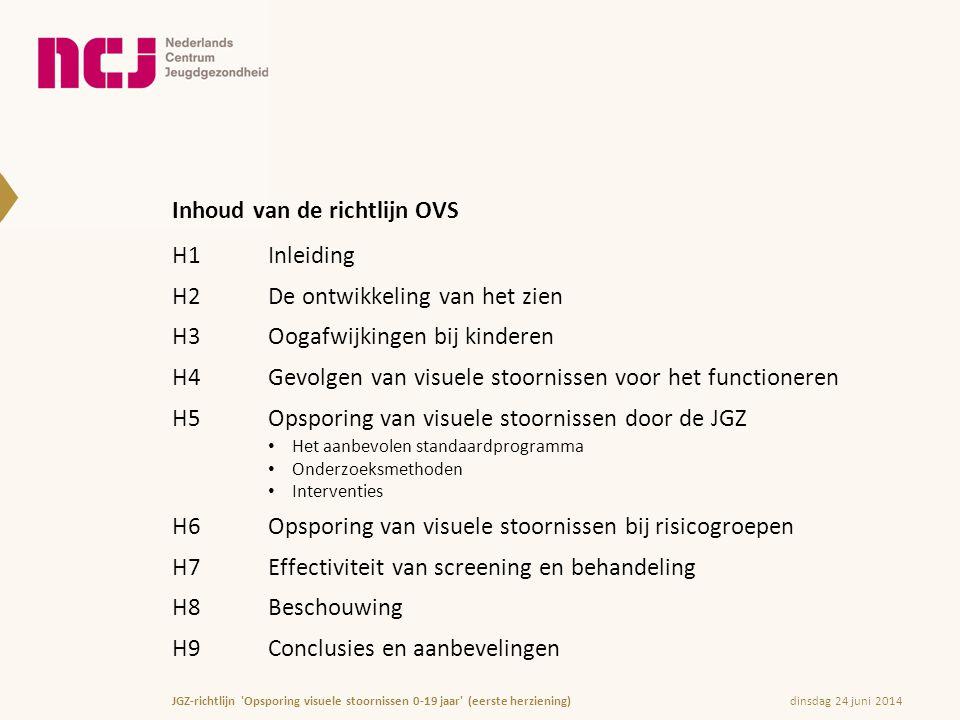 Inhoud van de richtlijn OVS H1Inleiding H2De ontwikkeling van het zien H3Oogafwijkingen bij kinderen H4Gevolgen van visuele stoornissen voor het funct