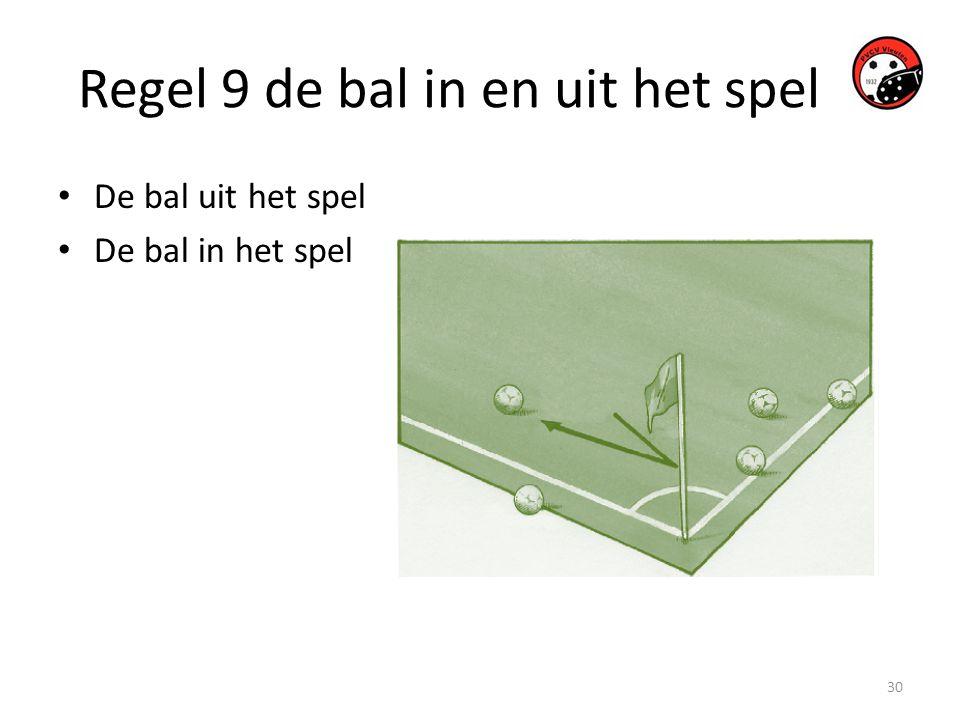 30 Regel 9 de bal in en uit het spel • De bal uit het spel • De bal in het spel