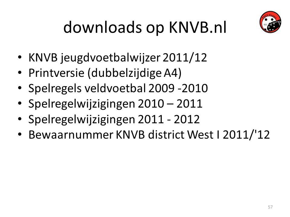 57 downloads op KNVB.nl • KNVB jeugdvoetbalwijzer 2011/12 • Printversie (dubbelzijdige A4) • Spelregels veldvoetbal 2009 -2010 • Spelregelwijzigingen 2010 – 2011 • Spelregelwijzigingen 2011 - 2012 • Bewaarnummer KNVB district West I 2011/ 12