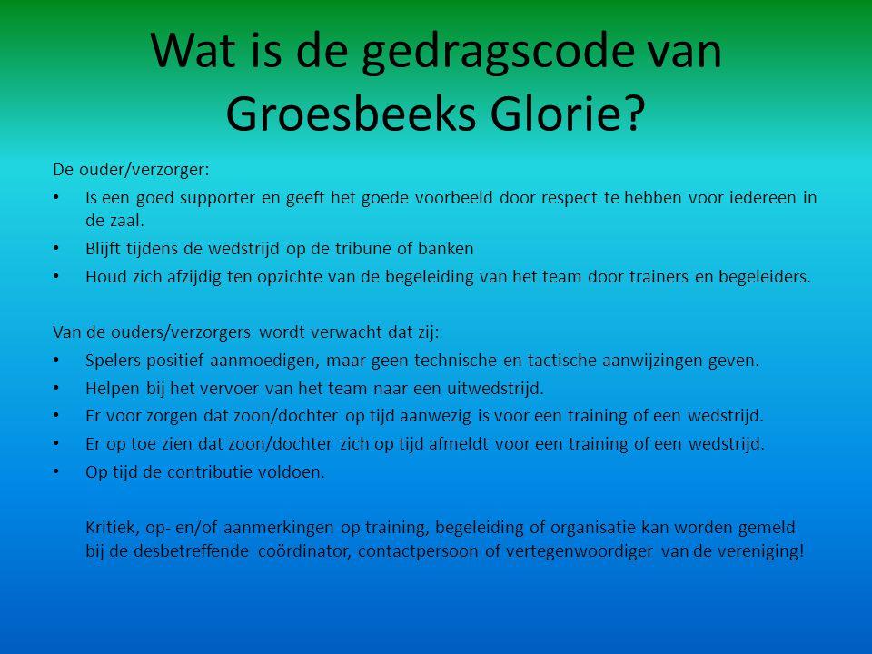 Wat is de gedragscode van Groesbeeks Glorie.
