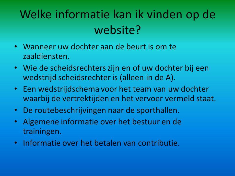 Welke informatie kan ik vinden op de website.