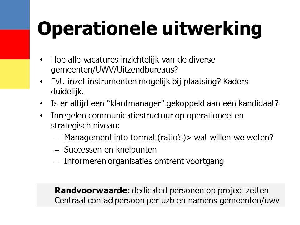 • Hoe alle vacatures inzichtelijk van de diverse gemeenten/UWV/Uitzendbureaus? • Evt. inzet instrumenten mogelijk bij plaatsing? Kaders duidelijk. • I