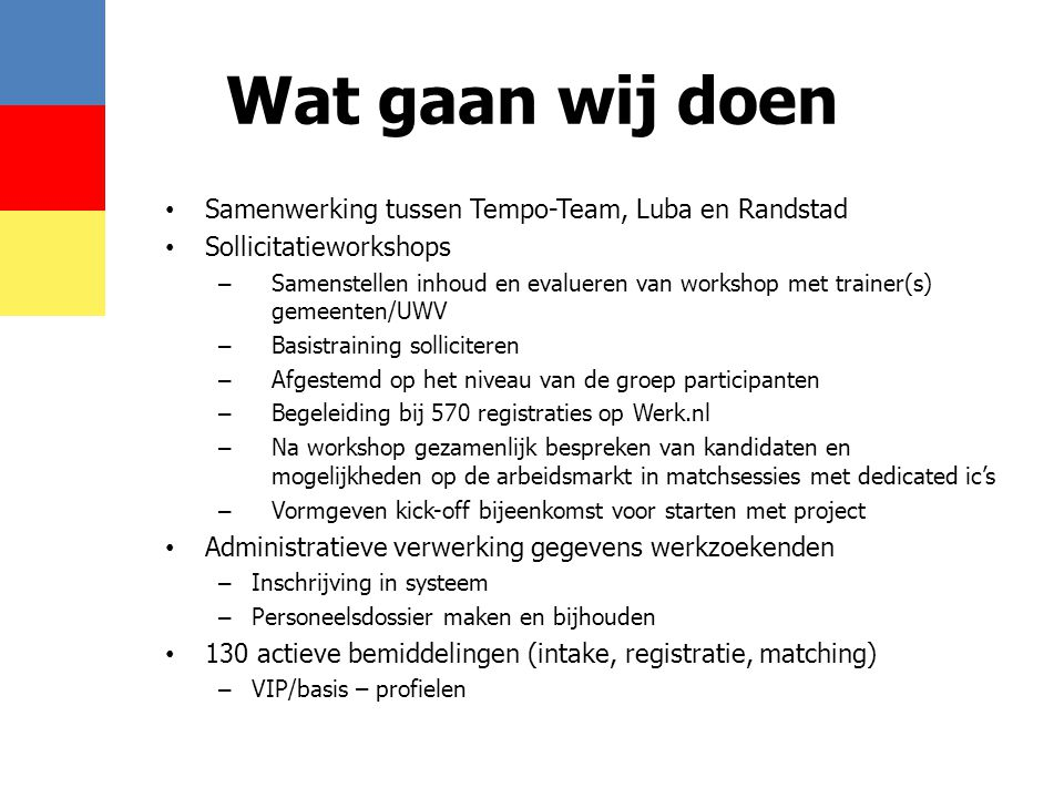 Wat gaan wij doen • Samenwerking tussen Tempo-Team, Luba en Randstad • Sollicitatieworkshops – Samenstellen inhoud en evalueren van workshop met train