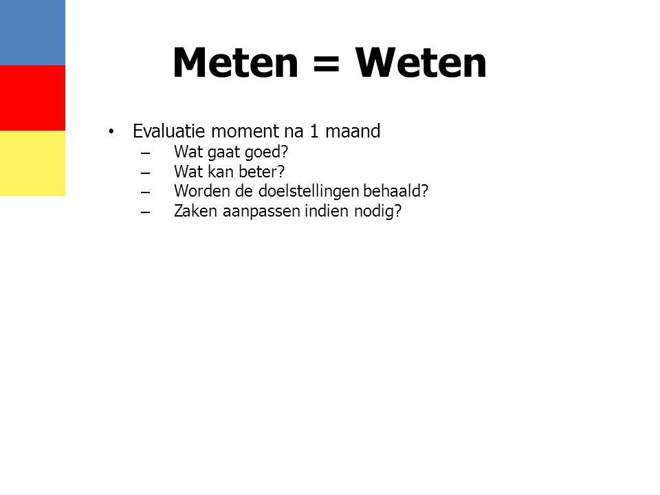 Meten = Weten • Evaluatie moment na 1 maand – Wat gaat goed? – Wat kan beter? – Worden de doelstellingen behaald? – Zaken aanpassen indien nodig?