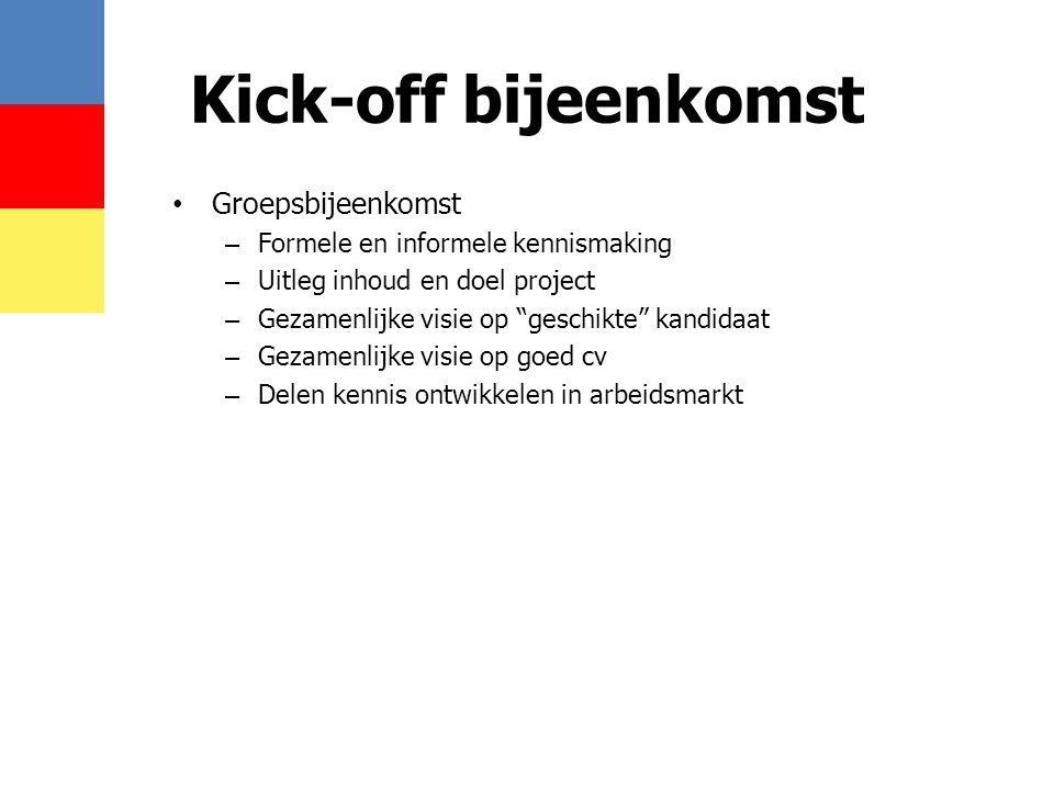 """Kick-off bijeenkomst • Groepsbijeenkomst – Formele en informele kennismaking – Uitleg inhoud en doel project – Gezamenlijke visie op """"geschikte"""" kandi"""