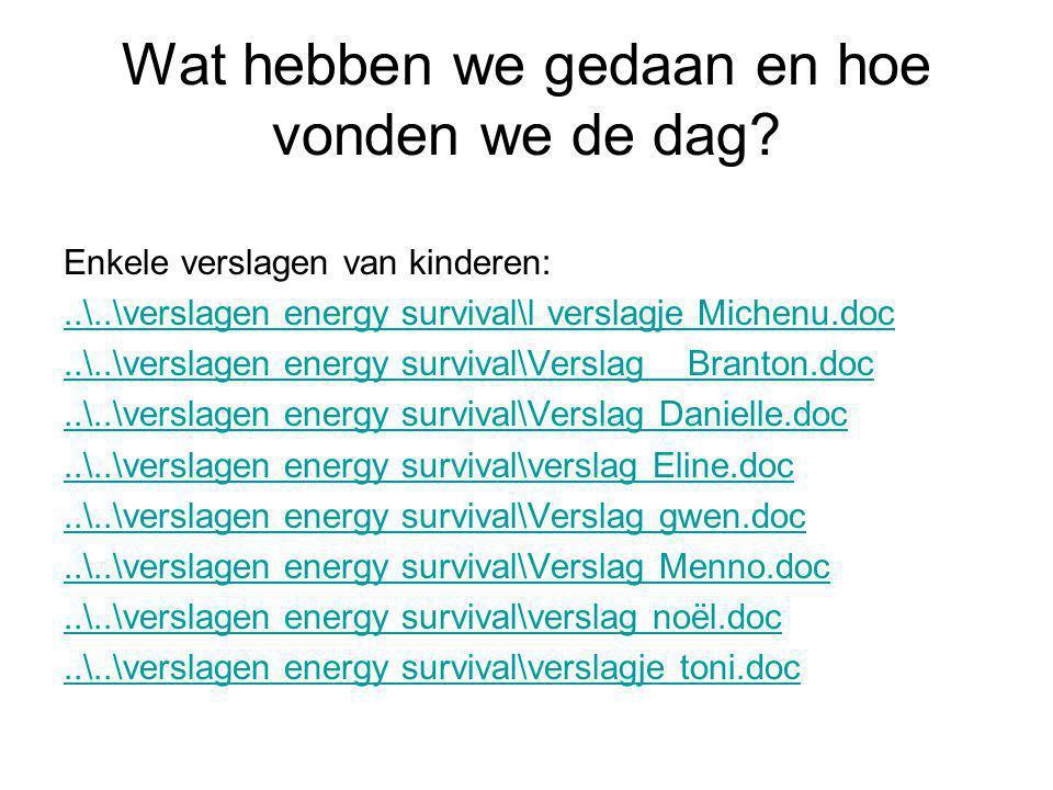 Wat hebben we gedaan en hoe vonden we de dag? Enkele verslagen van kinderen:..\..\verslagen energy survival\l verslagje Michenu.doc..\..\verslagen ene