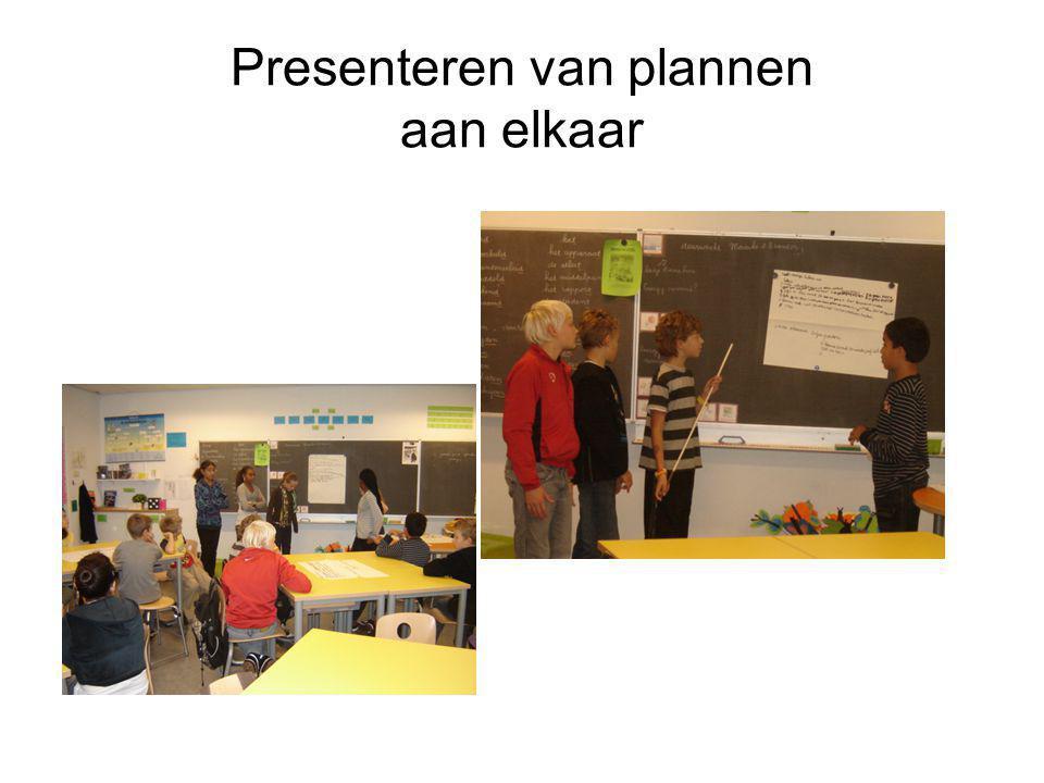 Presenteren van plannen aan elkaar