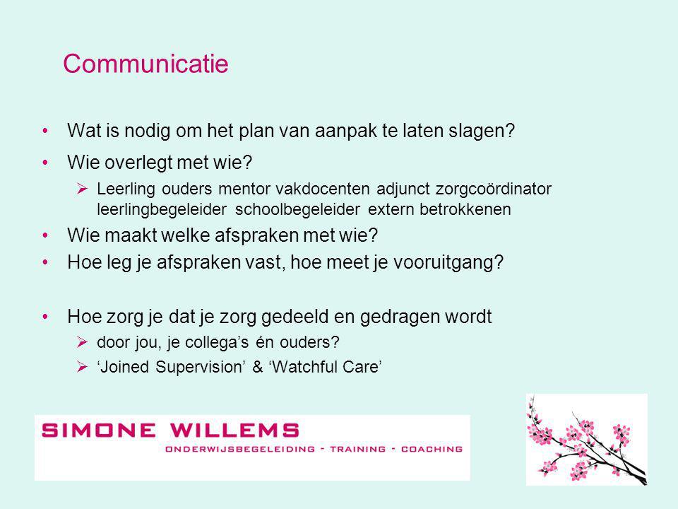 Communicatie •Wat is nodig om het plan van aanpak te laten slagen.