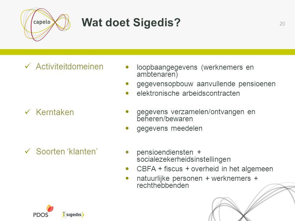 20  Activiteitdomeinen  Kerntaken  Soorten 'klanten' Wat doet Sigedis?  loopbaangegevens (werknemers en ambtenaren)  gegevensopbouw aanvullende p