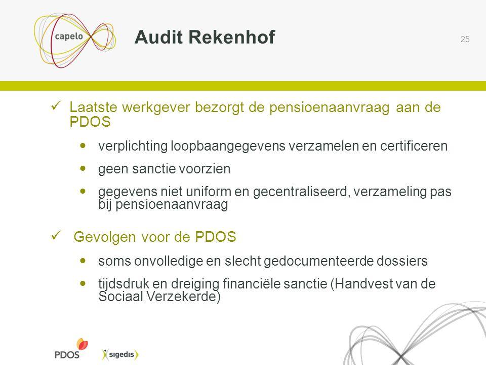 25 Audit Rekenhof  Laatste werkgever bezorgt de pensioenaanvraag aan de PDOS  verplichting loopbaangegevens verzamelen en certificeren  geen sancti