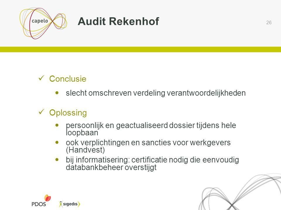 26 Audit Rekenhof  Conclusie  slecht omschreven verdeling verantwoordelijkheden  Oplossing  persoonlijk en geactualiseerd dossier tijdens hele loo