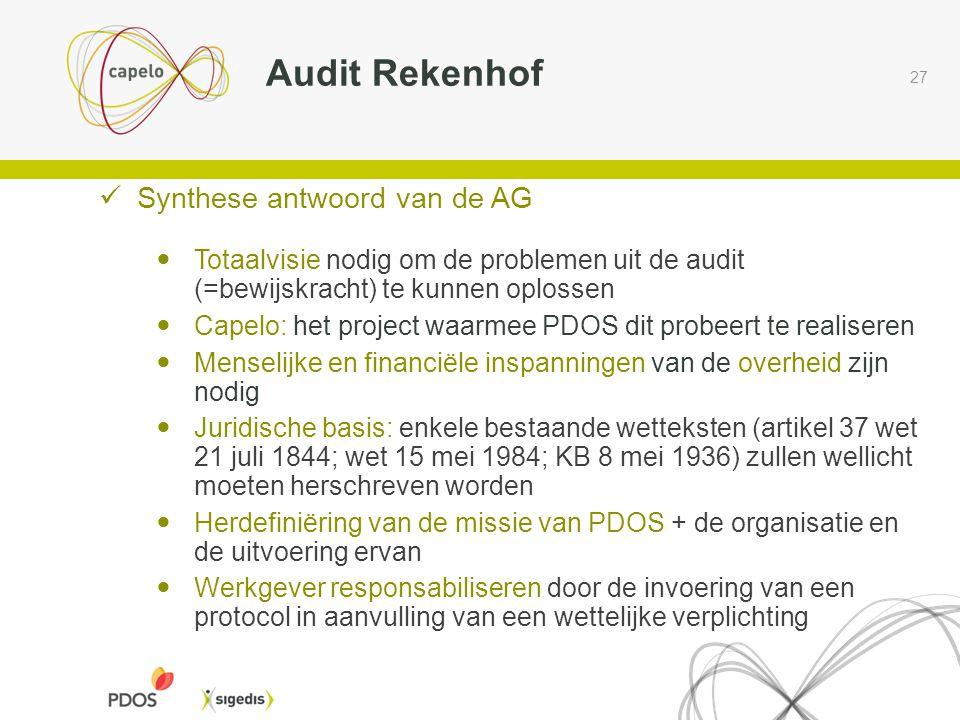 27 Audit Rekenhof  Synthese antwoord van de AG  Totaalvisie nodig om de problemen uit de audit (=bewijskracht) te kunnen oplossen  Capelo: het proj