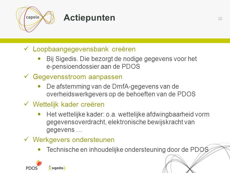 32 Actiepunten  Loopbaangegevensbank creëren  Bij Sigedis. Die bezorgt de nodige gegevens voor het e-pensioendossier aan de PDOS  Gegevensstroom aa
