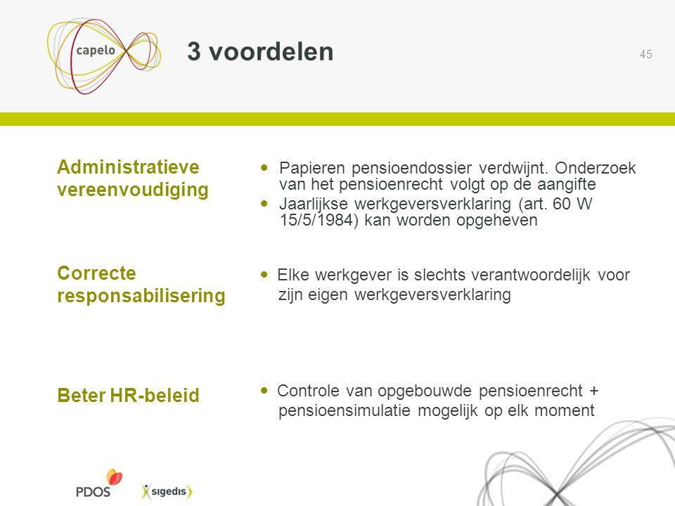 45 3 voordelen  Controle van opgebouwde pensioenrecht + pensioensimulatie mogelijk op elk moment Beter HR-beleid  Elke werkgever is slechts verantwo
