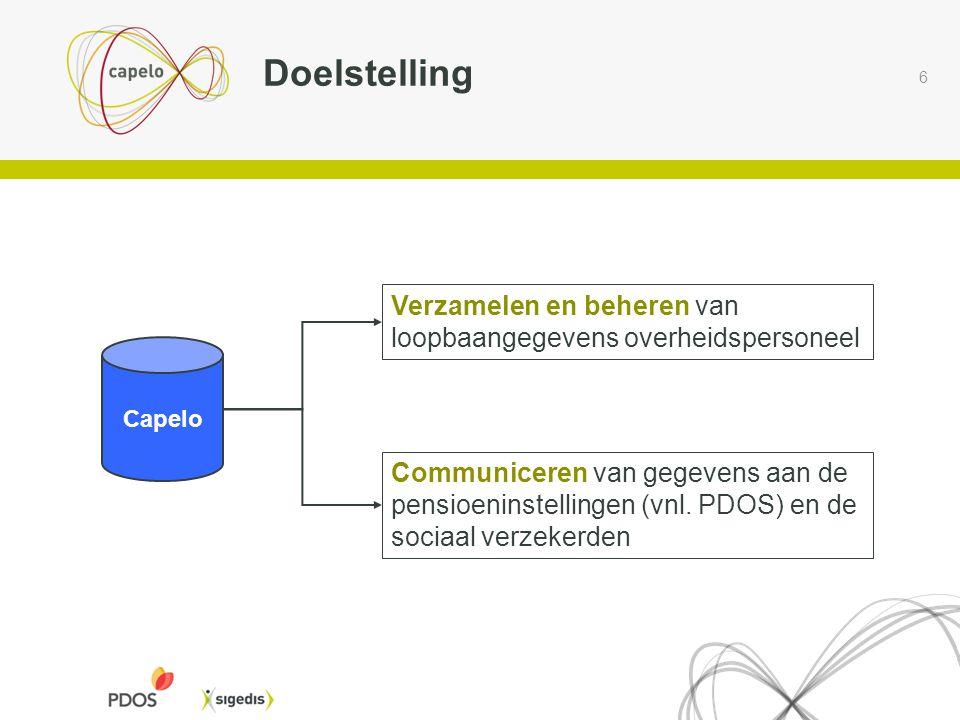 6 Doelstelling Capelo Verzamelen en beheren van loopbaangegevens overheidspersoneel Communiceren van gegevens aan de pensioeninstellingen (vnl. PDOS)