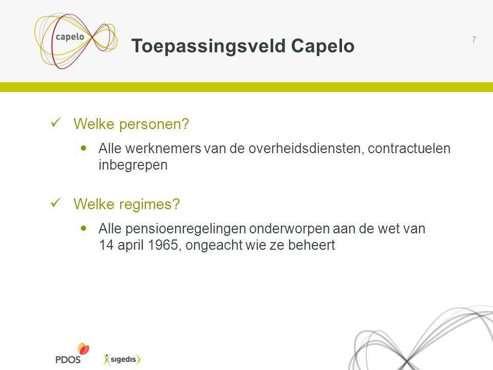 7 Toepassingsveld Capelo  Welke personen?  Alle werknemers van de overheidsdiensten, contractuelen inbegrepen  Welke regimes?  Alle pensioenregeli