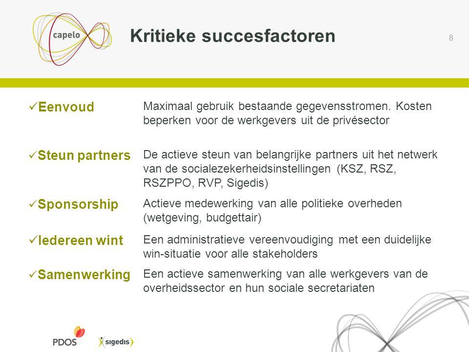 8 Kritieke succesfactoren  Eenvoud Maximaal gebruik bestaande gegevensstromen. Kosten beperken voor de werkgevers uit de privésector  Steun partners
