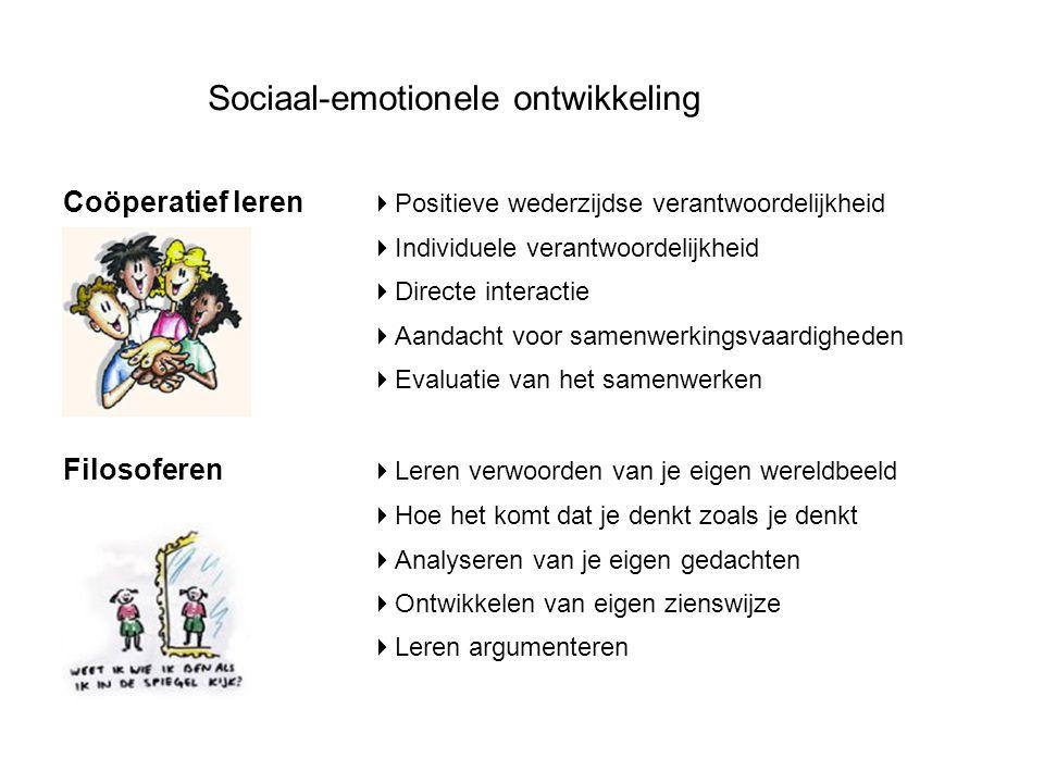Sociaal-emotionele ontwikkeling Coöperatief leren  Positieve wederzijdse verantwoordelijkheid  Individuele verantwoordelijkheid  Directe interactie