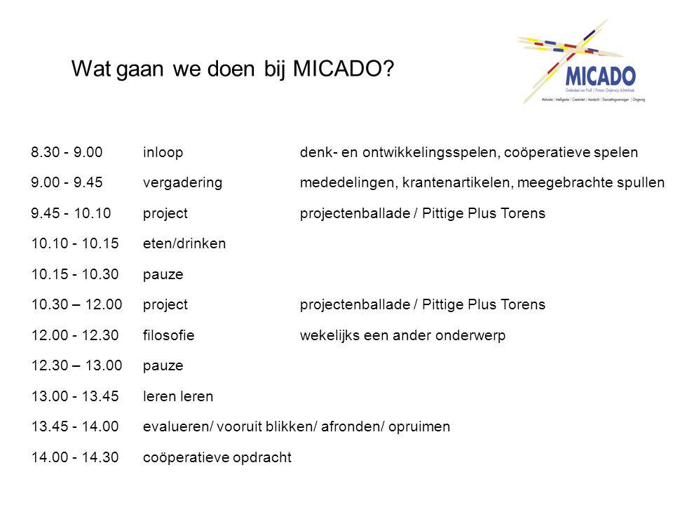Wat gaan we doen bij MICADO? 8.30 - 9.00 inloopdenk- en ontwikkelingsspelen, coöperatieve spelen 9.00 - 9.45 vergadering mededelingen, krantenartikele
