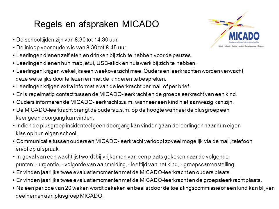 Regels en afspraken MICADO • De schooltijden zijn van 8.30 tot 14.30 uur. • De inloop voor ouders is van 8.30 tot 8.45 uur. • Leerlingen dienen zelf e