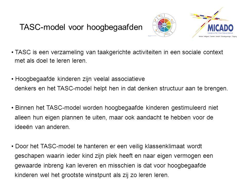 TASC-model voor hoogbegaafden • TASC is een verzameling van taakgerichte activiteiten in een sociale context met als doel te leren leren. • Hoogbegaaf