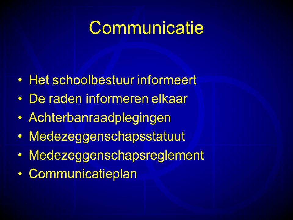 Communicatie •Het schoolbestuur informeert •De raden informeren elkaar •Achterbanraadplegingen •Medezeggenschapsstatuut •Medezeggenschapsreglement •Communicatieplan