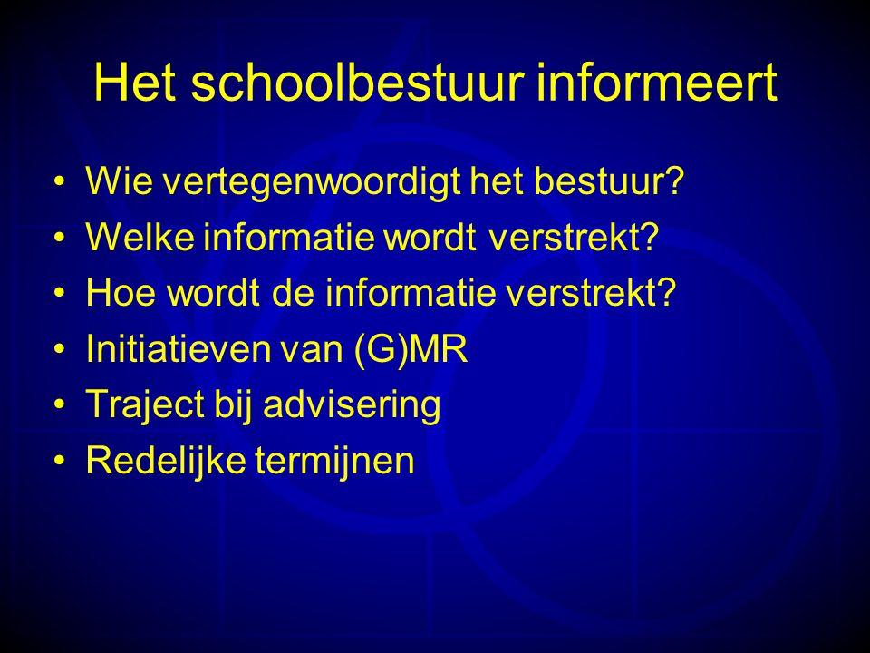 Het schoolbestuur informeert •Wie vertegenwoordigt het bestuur.