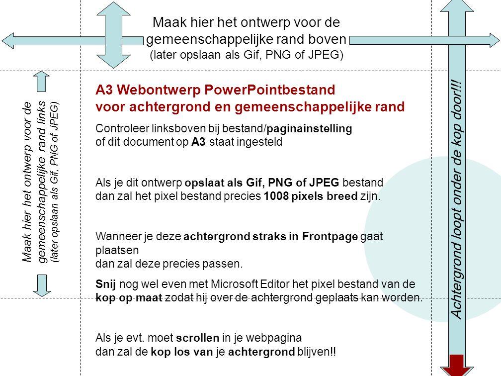 Maak hier het ontwerp voor de gemeenschappelijke rand boven (later opslaan als Gif, PNG of JPEG) A3 Webontwerp PowerPointbestand voor achtergrond en g