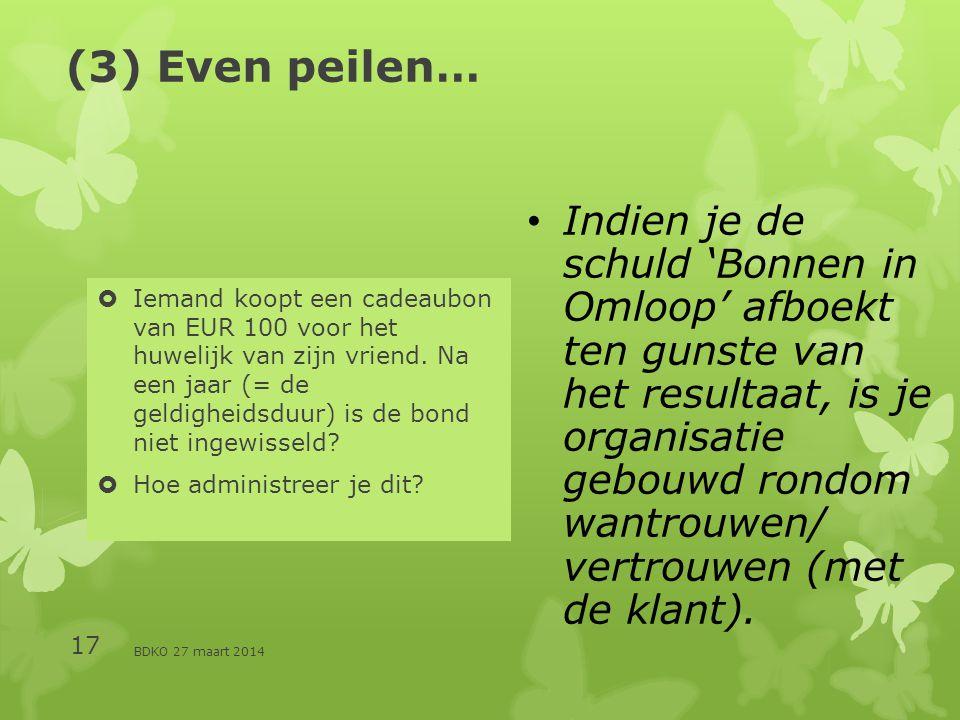 BDKO 27 maart 2014 17 (3) Even peilen…  Iemand koopt een cadeaubon van EUR 100 voor het huwelijk van zijn vriend.