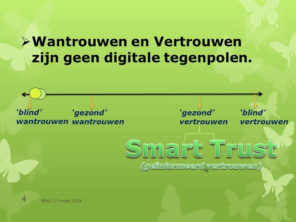 BDKO 27 maart 2014 4 4  Wantrouwen en Vertrouwen zijn geen digitale tegenpolen.