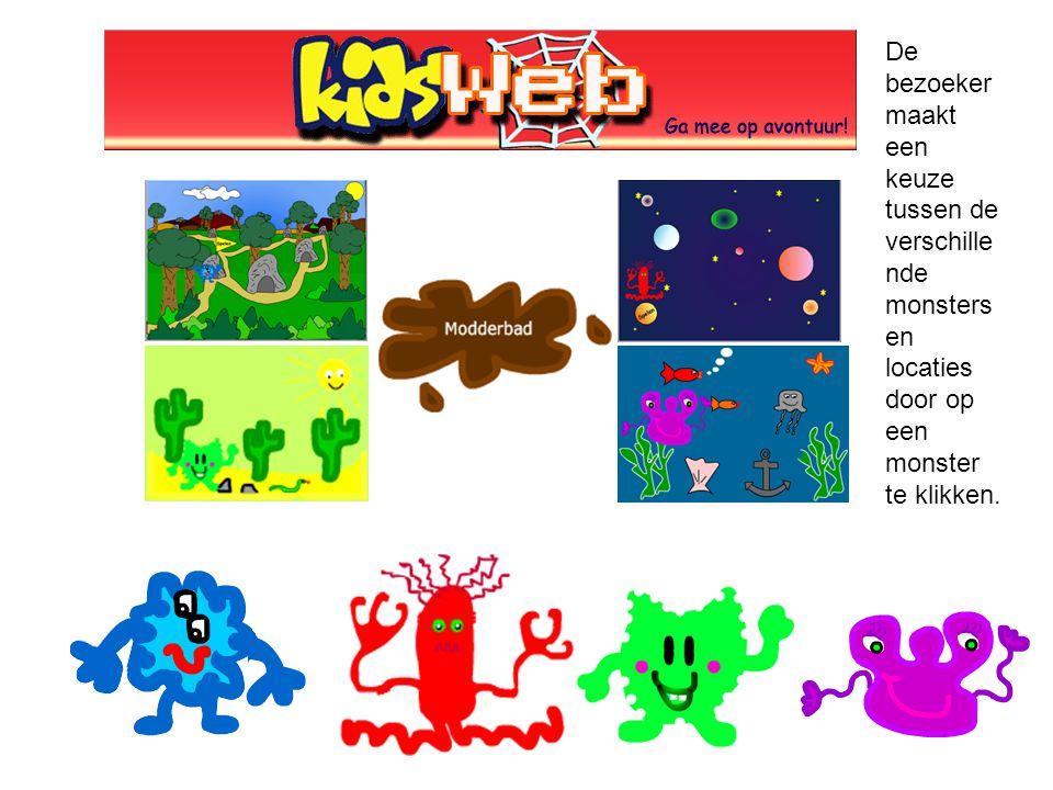 De bezoeker maakt een keuze tussen de verschille nde monsters en locaties door op een monster te klikken.