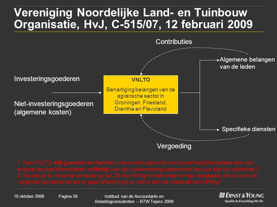 10 oktober 2009Instituut van de Accountants en Belastingconsulenten – BTW Topics 2009 Pagina 58 Vereniging Noordelijke Land- en Tuinbouw Organisatie,