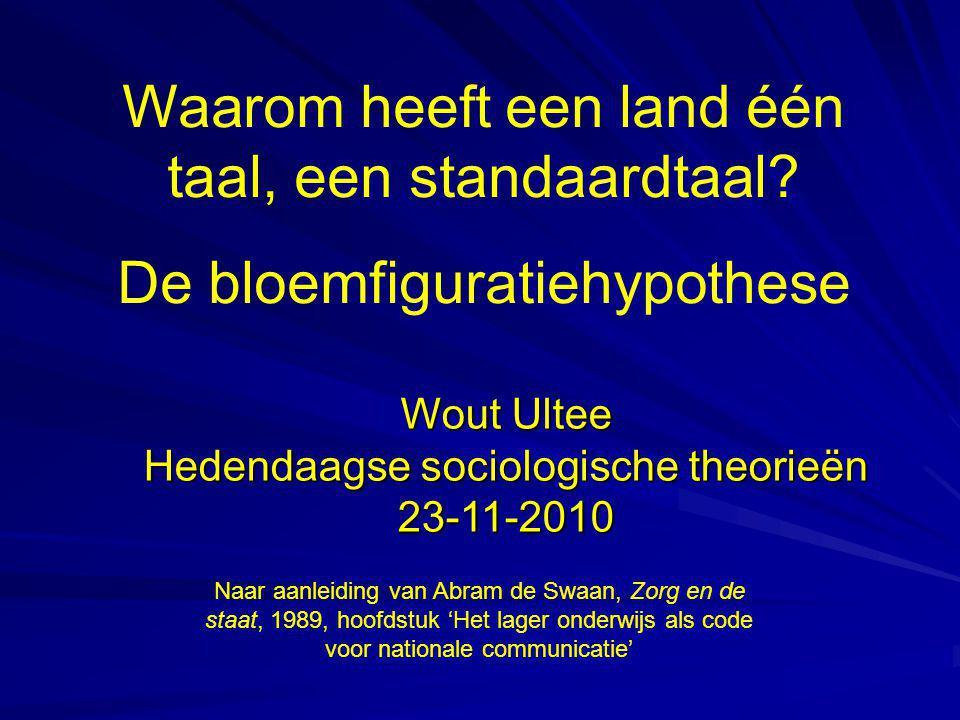 Waarom heeft een land één taal, een standaardtaal? De bloemfiguratiehypothese Wout Ultee Hedendaagse sociologische theorieën 23-11-2010 Naar aanleidin