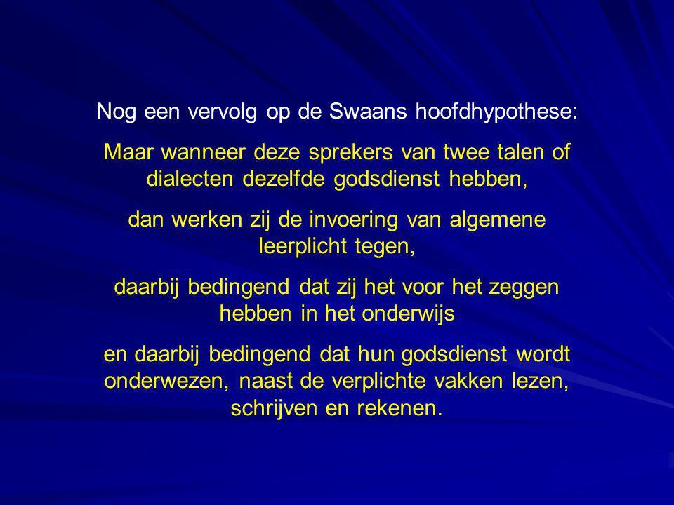 Nog een vervolg op de Swaans hoofdhypothese: Maar wanneer deze sprekers van twee talen of dialecten dezelfde godsdienst hebben, dan werken zij de invo