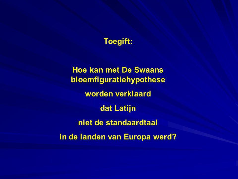Toegift: Hoe kan met De Swaans bloemfiguratiehypothese worden verklaard dat Latijn niet de standaardtaal in de landen van Europa werd?