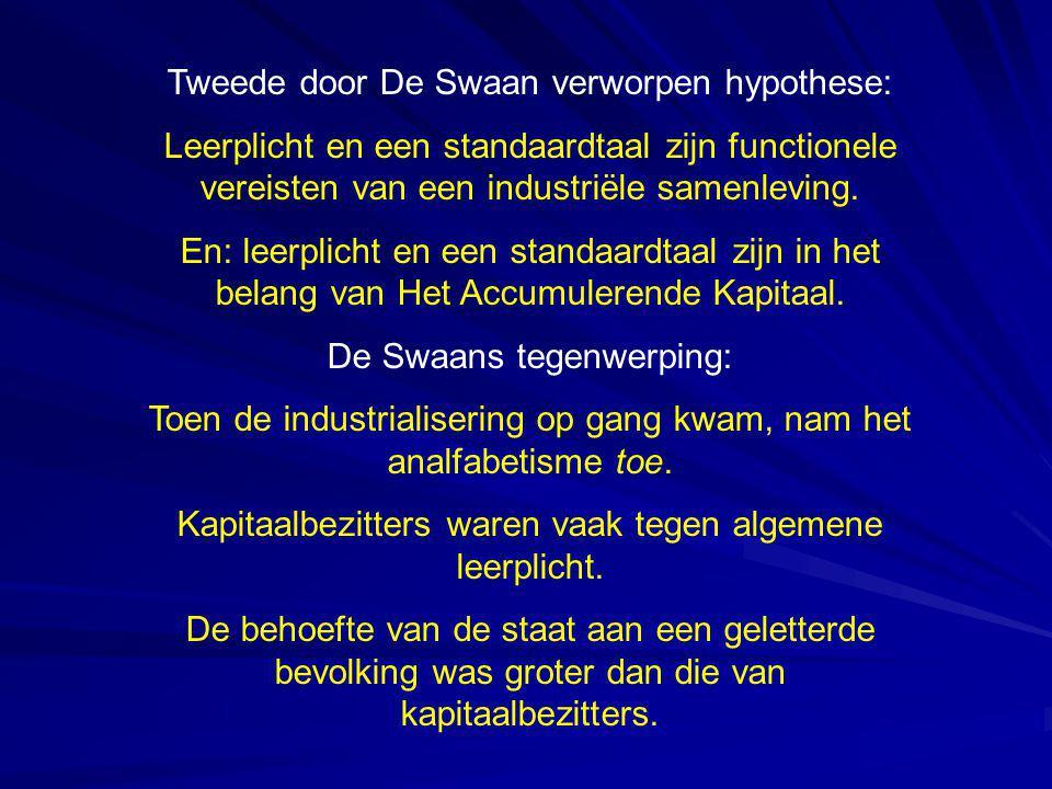 Tweede door De Swaan verworpen hypothese: Leerplicht en een standaardtaal zijn functionele vereisten van een industriële samenleving. En: leerplicht e