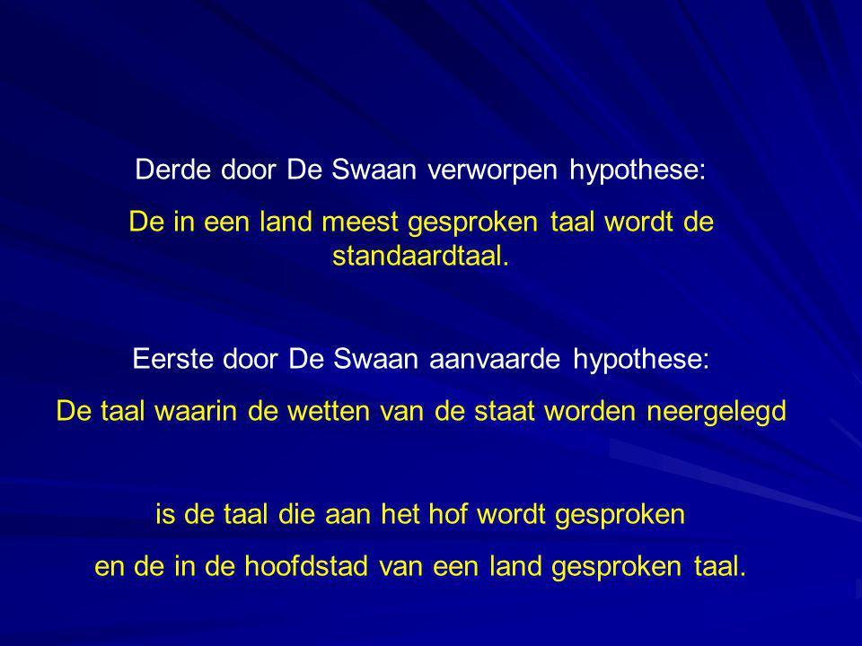 Derde door De Swaan verworpen hypothese: De in een land meest gesproken taal wordt de standaardtaal. Eerste door De Swaan aanvaarde hypothese: De taal