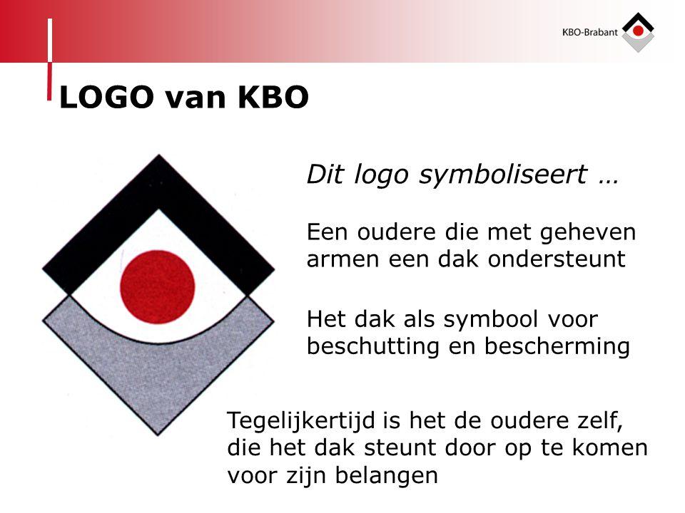 Dit logo symboliseert … LOGO van KBO Een oudere die met geheven armen een dak ondersteunt Het dak als symbool voor beschutting en bescherming Tegelijk