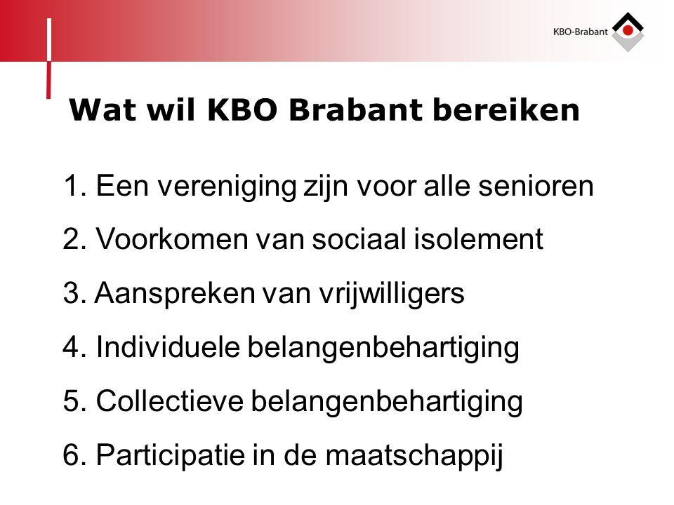 1. Een vereniging zijn voor alle senioren 2. Voorkomen van sociaal isolement 3. Aanspreken van vrijwilligers 4. Individuele belangenbehartiging 5. Col