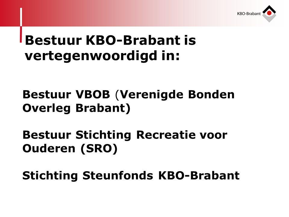 Bestuur KBO-Brabant is vertegenwoordigd in: Bestuur VBOB (Verenigde Bonden Overleg Brabant) Bestuur Stichting Recreatie voor Ouderen (SRO) Stichting S