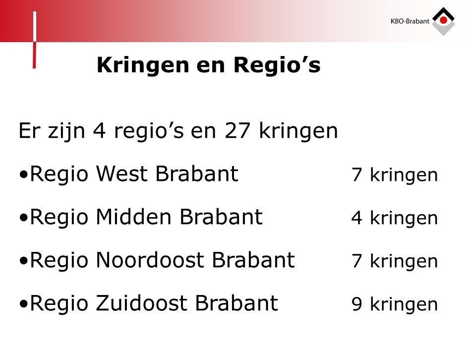 Er zijn 4 regio's en 27 kringen •Regio West Brabant 7 kringen •Regio Midden Brabant 4 kringen •Regio Noordoost Brabant 7 kringen •Regio Zuidoost Braba