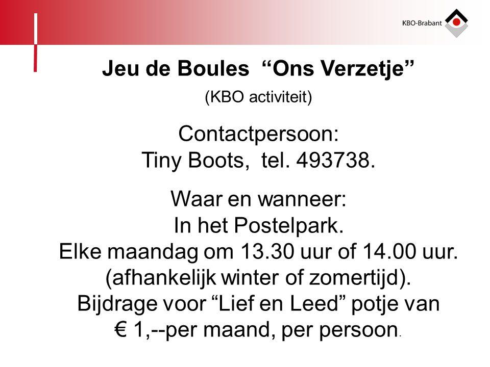 """Jeu de Boules """"Ons Verzetje"""" (KBO activiteit) Contactpersoon: Tiny Boots, tel. 493738. Waar en wanneer: In het Postelpark. Elke maandag om 13.30 uur o"""