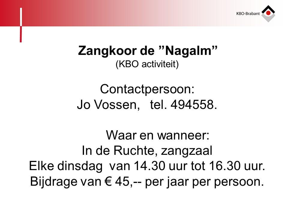 """Zangkoor de """"Nagalm"""" (KBO activiteit) Contactpersoon: Jo Vossen, tel. 494558. Waar en wanneer: In de Ruchte, zangzaal Elke dinsdag van 14.30 uur tot 1"""